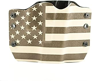 Desert Tan & OD Green USA Flag Kydex OWB holsters for more than 125 different handguns. Left & Right versions plus Speed Clips available.