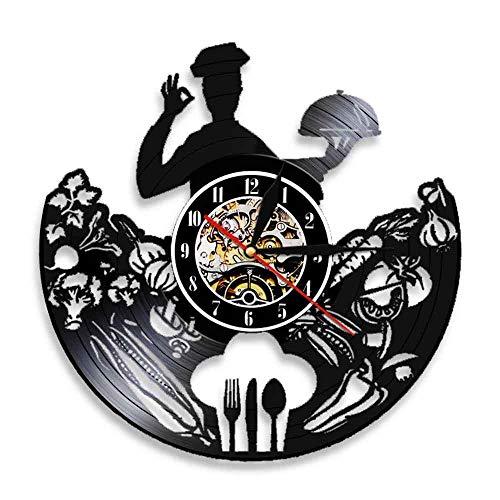 YANGSHUANG Handmade Vinilo Pared Reloj Cocinero Reloj de Pared de Vinilo Reloj de Pared de Arte Creativo Hecho a Mano, Movimiento de Cuarzo silencioso, diámetro 30 cm