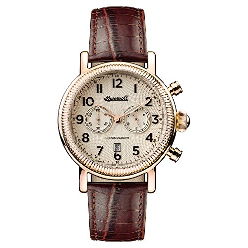 Ingersoll Men's The Daniells Quartz Watch with Cream Dial and Brown Leather Strap I01001