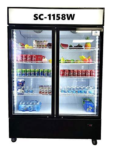Commercial 2 Glass Door Refrigerator Merchandiser Reach-in Kitchen Resturant Gas Station Flower Cooler