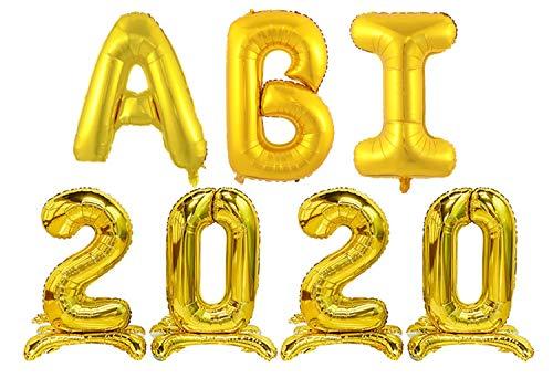 ABI 2020 Deko Folien-Ballons, Abitur 2020 Deko Luftballons Girlande, Ballons ABI 2020 metallic Gold Buchstabe, Balons Abschluss, Deko für die Abi-Feier Schul-Abschluss Überraschungsparty für's Abitur