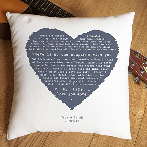 Not Just A Print Personalised Song Lyrics Pillow Cushion Case with Romantic Vintage Heart Design, perfect 2nd Anniversary, Wedding, Birthday, Christmas or Valentines Gift (The Beatles - In My Life)