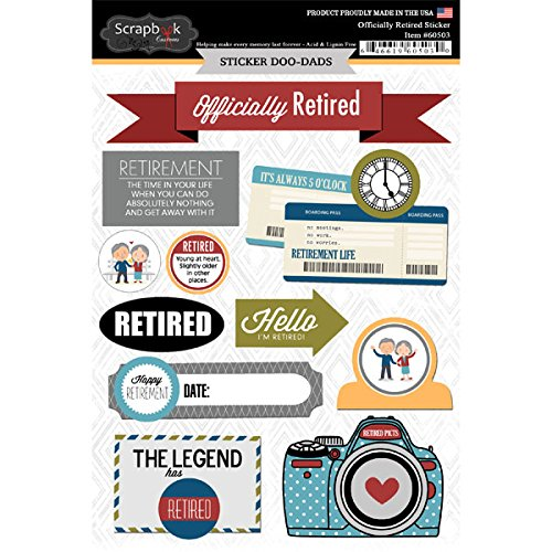 Officially Retired Retirement Doo Dads Cardstock Scrapbook Stickers with Metal Badges (60503)