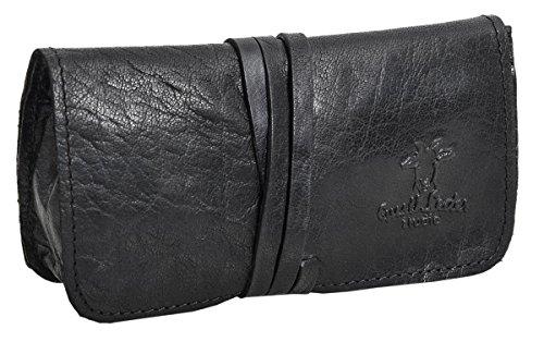 Portatabacco'Marius' di Gusti Leder Studio borsellino vera pelle cartine filtri tabacco telefono nero vintage 2A2-20-6