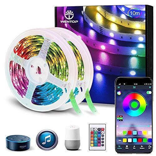 WenTop Alexa LED Strip 10m, LED Band mit Fernbedienung, Wi-Fi Smart App Control, Musiksynchronisation, Farbwechsel, für Schlafzimmer, Decke, Party, Arbeitet mit Google Assistant (2 X 5m)