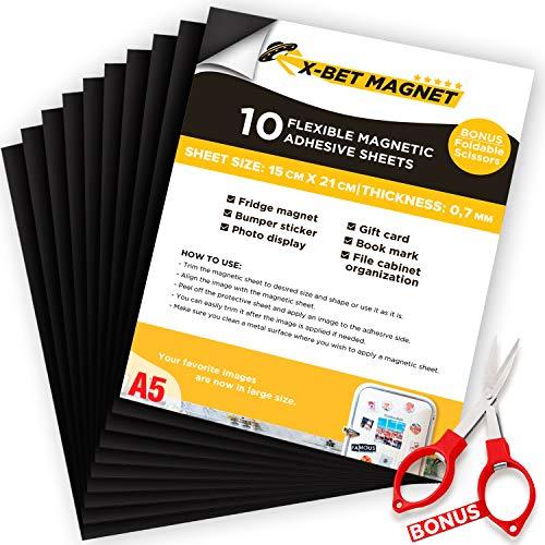 A5 Magnétique Autocollante Plaque Aimantée - 15cmx21cm - Papier Magnétique Souple - Feuilles Magnétiques - Papier Magnétique pour Aimants - Aimants de Bricolage - Feuille Adhésive Magnétique - 10 PC