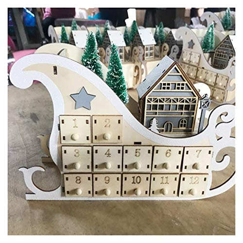 Fgolphd Ornamento del árbol de Luz Casa de Madera Trineo de Adviento Calendario de Cuenta atrás Fiesta de Navidad Decoración 24 cajones con LED (Color : 3)