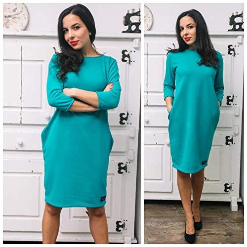Mintfarbenes beiläufiges Kleid der Frauen mit Taschen, in Größen S/M, M/L, L/XL, XL/2XL