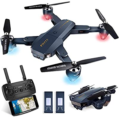 Kuorle WiFi FPV Drone with Camera, Foldable RC Quadcopter Helicopter with 720P HD Camera,Altitude Hold, Gravity Sensor, RTF One Key Take Off/Landing,Easy to Fly Best Drone for Kids & Beginners