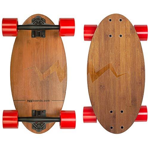 Eggboards Mini Longboard Bambus Holz - Nachhaltiges Kompakt-Skateboard für Erwachsene und Kinder Leicht zu tragen, reibungslos zu fahren