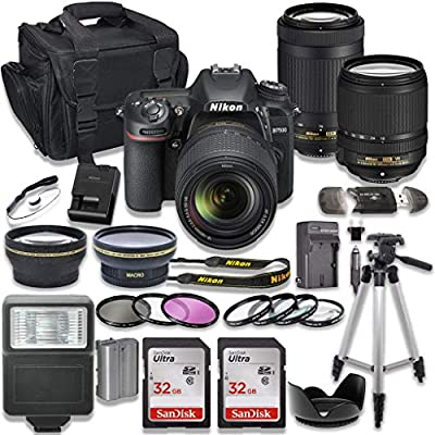 Nikon D7500 DSLR Camera with AF-S 18-140mm VR Lens + Nikon AF-P 70-300mm f/4.5-6.3G ED Lens + 2pc SanDisk 32GB Memory Cards + Accessory Kit from Nikon (I)