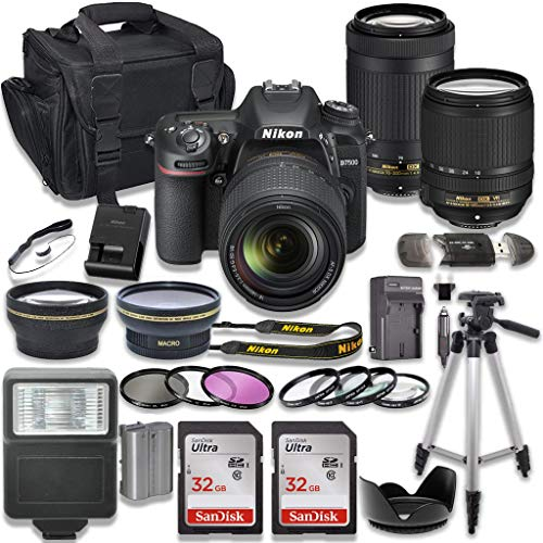 Nikon d7500 dslr camera with af-s 18-140mm vr lens + nikon af-p 70-300mm f/4. 5-6. 3g ed lens + 2pc sandisk 32gb memory cards + accessory kit