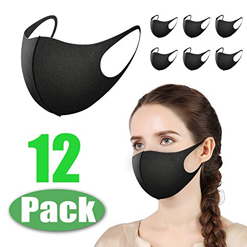 Morfone Masken Mundschutz, 12 Stück Wiederverwendbare Mundschutzmasken, Anti-Staub-Maske, Gesichtsmaske zum Laufen, Radfahren, Skifahren, Outdoor-Aktivitäten, waschbar [Schwarze Farbe]