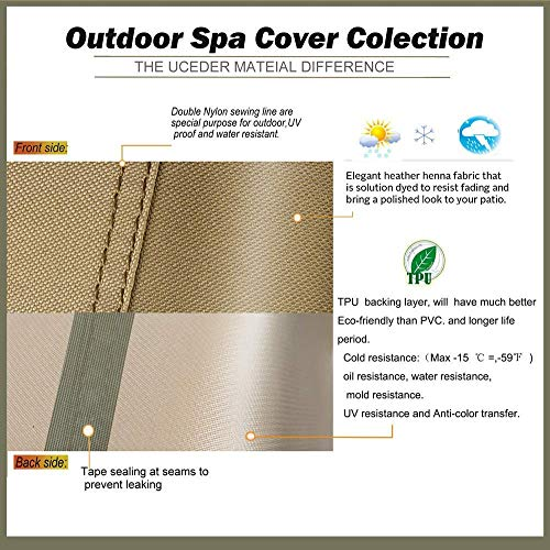 pool spa part Hot Tub Outdoor Cover Cap Heavy Duty Water-Resistant Polyester(actual size 77''x77''x20'' Fits 76''x 76'') 100% Waterproof hot tub cover case
