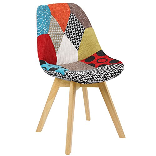 WOLTU BH29mf-1 1 x Esszimmerstuhl 1 Stück Esszimmerstuhl Design Stuhl Leinen Küchenstuhl Holz Mehrfarbig