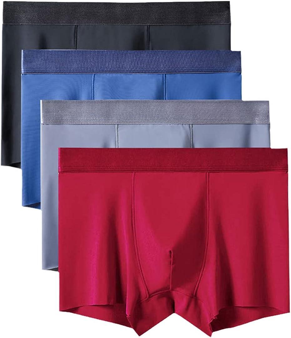 4Pcs/Lot Men Underwear Seamless Men Boxers Silk Boxers 3D Boxer Shorts