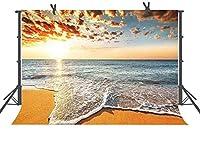 HD 10x7ft海のビーチの写真撮影の背景写真スタジオの小道具日没の背景XCFU3910