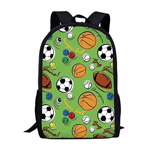 Mochila Escolar para niños Dibujos Animados Baloncesto Patrones de Pelota de fútbol Estudiantes de Primaria Mochilas Mochila Niños B