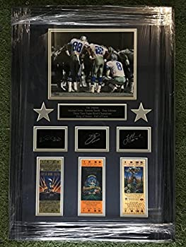Dallas Cowboys The Triplets  Troy Aikman #8 Emmitt Smith #22 & Michael Irvin #88 Photo with Replica Super Bowl Ticket Stubs & Laser Etched Autograph Framed!