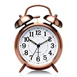 AubeAlba Metal Plastic Brass Vintage Twin Bell Table top with Night LED Light Display Alarm Clock- 3.55x2.2x4.7 Inch (Copper White)