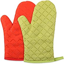 SHENTIANWEI Anti-scalding Gloves Thickened Insulation Non-slip Cake Shop Oven High Temperature Baking Anti-hot Gloves (Color : Green, Size : L-Five pieces)