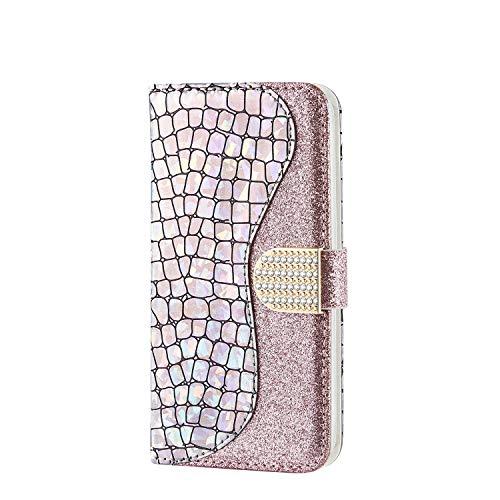 CaseFun Carcasa Samsung Galaxy A5 2017, Funda Libro Cuero Samsung Galaxy A5 2017 Bling Brillante Magnética con TPU Silicona Case Interna Suave, Plata