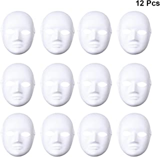 Tinksky 12pcs Female Full Face Halloween Costumes DIY Blank Painting Mask Halloween Hip-Hop Dance Ghost Cosplay Fancy Dress Masquerade Party Mask