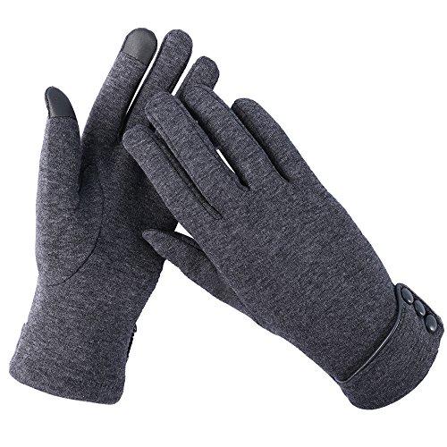 Aibrou Touchscreen Handschuhe Damen gefüttert Winterhandschuhe winddicht Fahrradhandschuhe Frauen Reithandschuhe Winter Warm Strickhandschuhe mit Fleecefutter unisex Geschenck