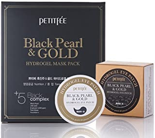 [Petitfee] Black Pearl & Gold Hydrogel Eye Patch 60ea + Black Gel Mask Pack 5ea SET