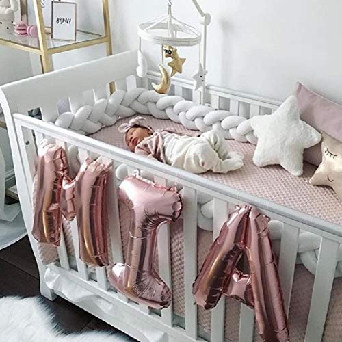 MOMAID Baby Braided Crib Bumper Knotted Plush Soft Nursery Toddler Crib Bedding Sets