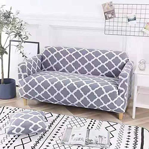 JKRTN Elastischer Sofabezug 1 2 3 4 Sitzer Sofa-Überwürfe Sofahusse Couchhusse Spannbezug für Sofa mit Armlehne Blumendruck Stil - grau 475