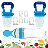 Gedebey Baby Food Feeder, Pacifier Fruit- Fresh Silicone Bottle Squeeze Spoon Frozen Fruit Teething Pacifiers Nibbler Hygienic Cover Newborn Teeth with Meshes Sizes for Baby Food Spoon (Blue)