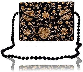 DNE Handicraft Collection Women's Evergreen Handmade Embroidered Foldover Sling -Cross Body Clutch Bag