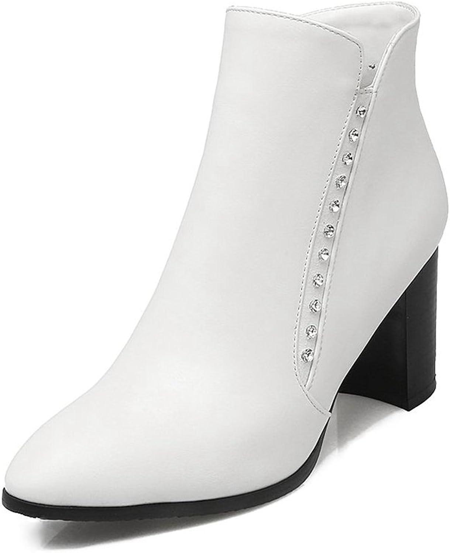 SaraIris Women's Round Toe Chunky High Heels Zipper Mental Rivet Elegant Ankle Boots