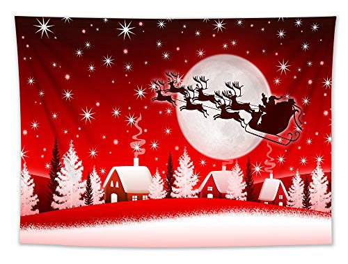 LB Christmas Tapestry Santa Claus Elk Sleigh in The Sky Winter Snow Tapestry Wall Hanging Xmas Tree Country Village Background Art Poster for Living Room Bedroom Dorm,60 x 40 Inchs