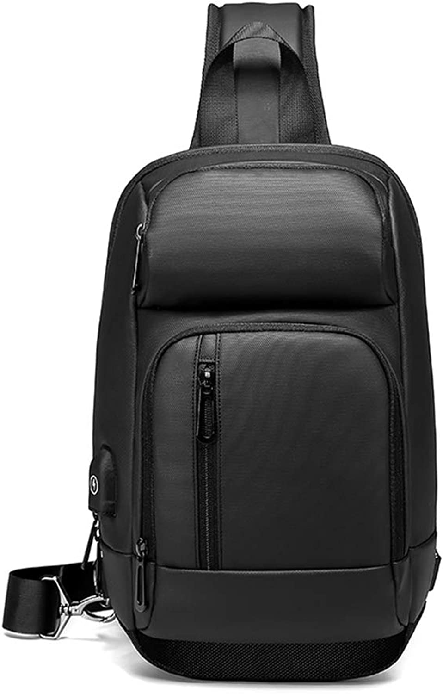 DSFGSDGP Package NIGEER schwarz Chest Bag Men's Casual Shoulder Messenger Bag USB Charging Chest Bag Waterproof travel Messenger Bag Male n1820 B07HQG8K62