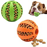 Dog Toy Ball, Non-Toxic bite-Resistant Natural Elastic Rubber Ball 2 Pack,Medium Interactive Dog Toy ,pet Food Treatment feeders, Chewing Teeth Cleaning Balls, Exercise Games, IQ Training Balls