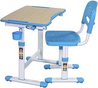 FD FUN DESK Piccolino II Blue skolbord höjdjusterbar, barnskrivbord lutningsjusterbar, skrivbord med stol, blå, 664 x 474 ...