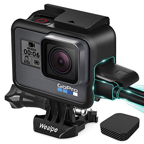 Wealpe Rahmen Gehäuse Schutzgehäuse Rahmenhalterung mit Objektivkappe Kompatibel mit GoPro Hero 7 Schwarz, Silber, Weiß, 6, 5, Hero (2018) Kameras