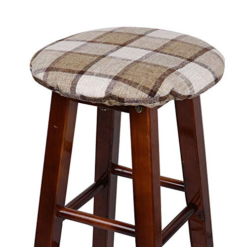 YOYOU Padded Grid Round Bar Stool Cover with Elastic Fabric Round Chair Seat Cushion for Wooden Metal Stools (WhiteKhaki, 12''(30cm))