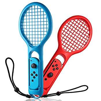 INFURIDER Tennis Racket Controller for Nintendo Switch Game,Hand Grip Game Controller Joy-Con Accessories Compatible for Nintendo Racket Sport Game Mario Tennis Ace 2 Pack,Red & Blue