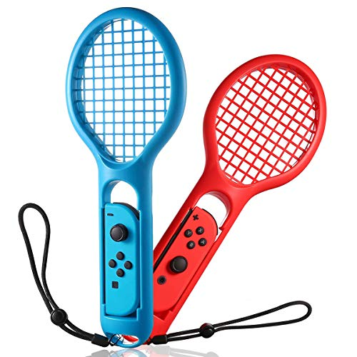 INFURIDER Tennis Racket for Nintendo Switch N-Switch Joy-Con Controller for Tennis Racket Nintendo Switch Mario Tennis Aces Game Accessories 2 Pack Blue Red