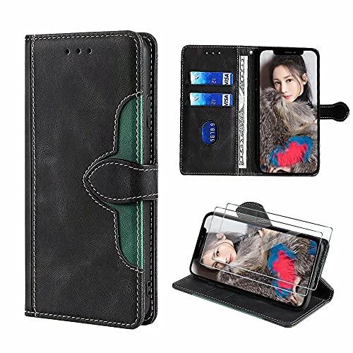 xinyunew [Cuero PU Premium Funda para Samsung Galaxy S7 Edge + [2 Pack] Protector Pantalla Cristal Templado,Carcasa Funda Protectora Billetera (Negro)