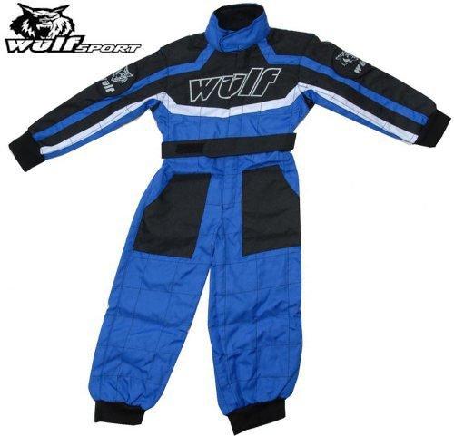 Bambini 1 Pezzo Suit: WULFSPORT ATV MX QUAD Tuta 1 Pezzo Tuta Juniores di Corsa, Jersey + Pantaloni Bambini (Blu) (M (7-8 Anni))