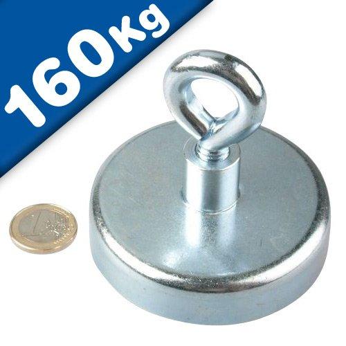 Ösenmagnet Neodym mit Öse - Ø 75 mm - Haftkraft 160 KG