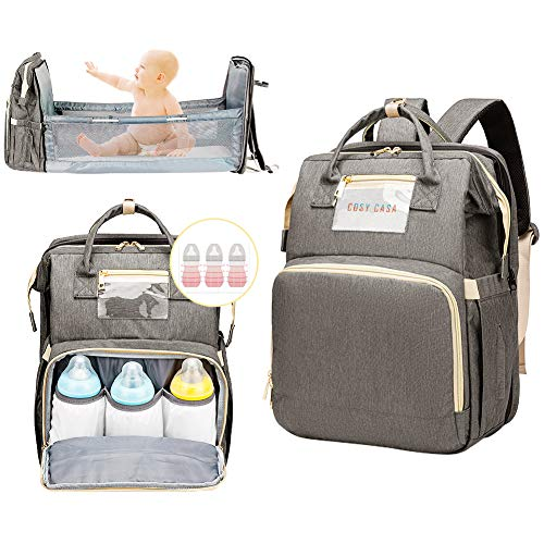 Cosy Casa Baby Travel Diaper Bag Backpack with Bassinet Changing Mat Changing Station,Folding Crib Bag Foldable Mommy Bag for Baby Girl Boy Infant Mom Diaper-Bag-Backpack-Baby-Travel(Grey)