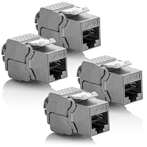 deleyCON 4X Keystone Modul CAT 6a Jack - Vollgeschirmt STP RJ45 Buchse Werkzeugfrei Dank Snap-In Montage CAT Rohkabel 500Mhz 10GBit/s