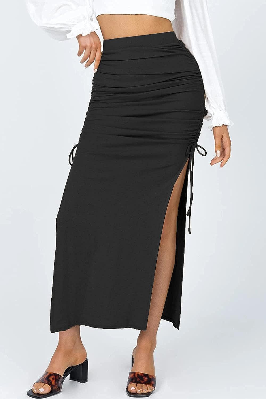 ioiom Women's Sexy High Waist Split Midi Skirts Adjust Drawstring Side Maxi Skirts