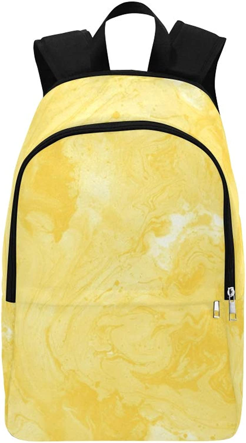 Decorative Marble Texture Yellow Colour Abstract Casual Daypack Travel Bag College School Backpack for Mens and Women