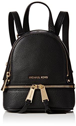 Michael Kors Rhea Xs Msgr Backpack, Damen Rucksackhandtasche, Schwarz (Black), 8x22x16 cm (W x H L)